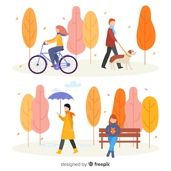 Pessoas no parque na coleção de outono