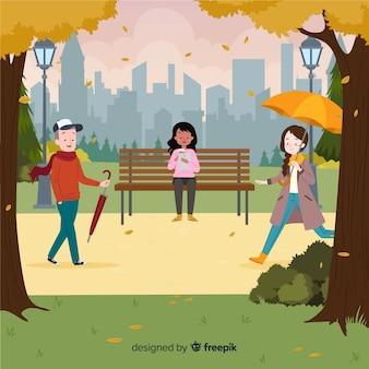 Pessoas no parque no outono