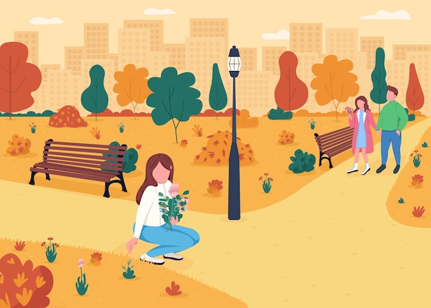 Pessoas no parque outonal ilustração em cores planas