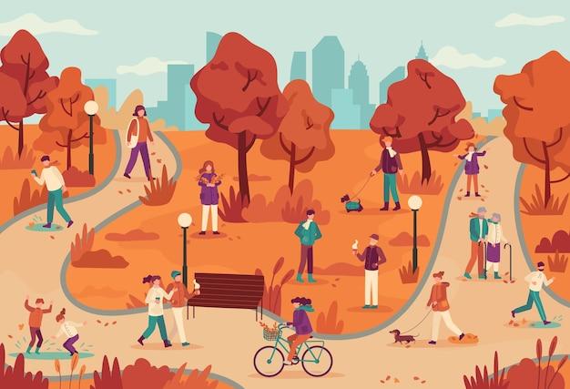 Pessoas no parque outono. mulheres e homens relaxando ao ar livre, andar no parque de bicicletas, passear com o cachorro, correr, desfrutar de fundo de vetor de outono. temporada de outono no parque com pessoas andando, correndo e aproveitando a ilustração