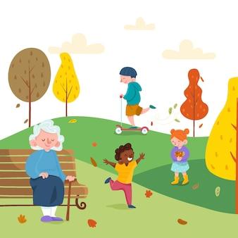 Pessoas no parque outono