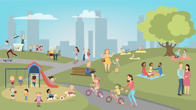Pessoas no parque se divertindo e descansando. crianças e adolescentes, adultos e idosos.