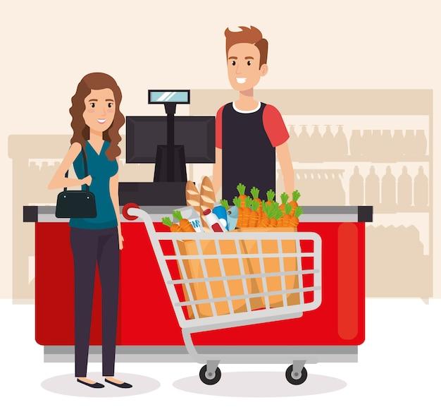 Pessoas no ponto de pagamento de supermercado