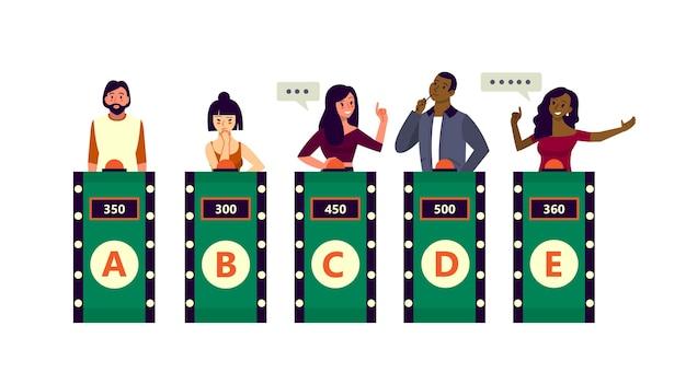 Pessoas no programa de perguntas da tv. homem com a maior pontuação respondendo em concurso de televisão. cara esperto.