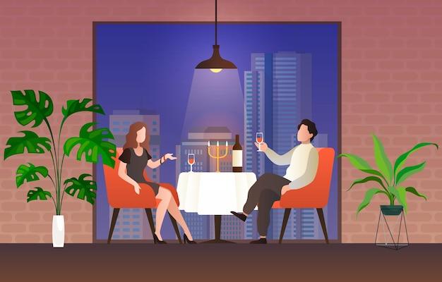Pessoas no restaurante. casal apaixonado, homem e mulher, sentam-se à mesa, bebem videira conversando, comemore o feriado dos namorados no interior do café à noite, ilustração de desenho vetorial plana de relacionamentos românticos