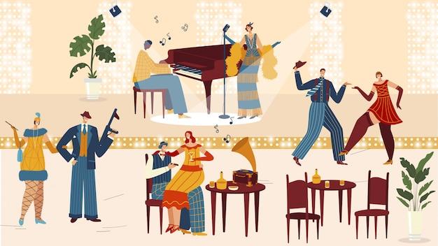 Pessoas no restaurante retrô, festa vintage em estilo art deco, personagens de desenhos animados dançando, ilustração