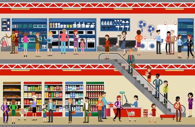 Pessoas no shopping center. supermercado. equipamentos e eletrônicos