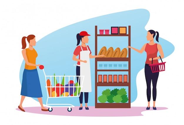 Pessoas no supermercado e mulher trabalhadora