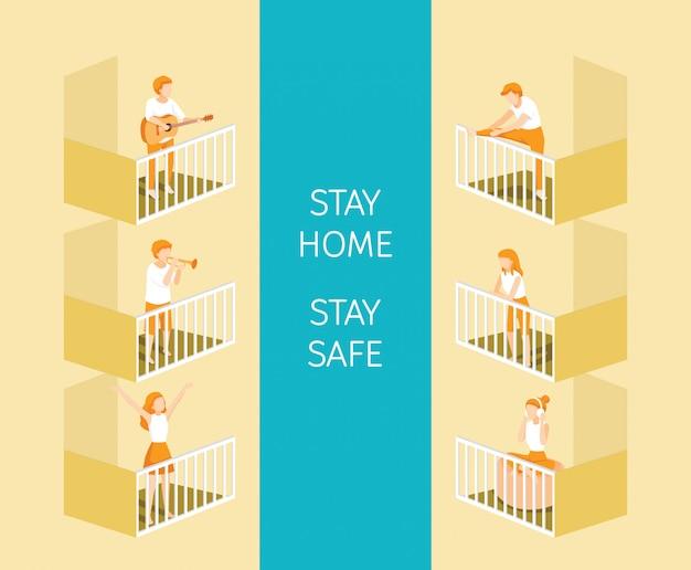 Pessoas no terraço com atividades diferentes, fazer exercícios, tocar e ouvir música, ficar em casa, ficar em segurança, auto-isolamento, proteção contra a doença do coronavírus, clvid-19