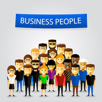 Pessoas no trabalho com o banner do trabalho em equipe em fundo branco. ilustração vetorial
