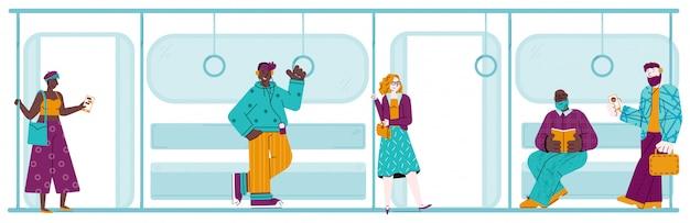 Pessoas no trem do metrô - banner com desenhos animados de homens e mulheres