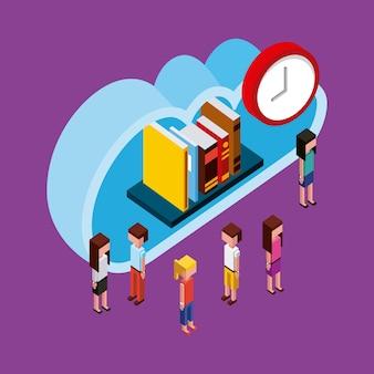 Pessoas nuvem computação armazenamento livros tempo isométrico