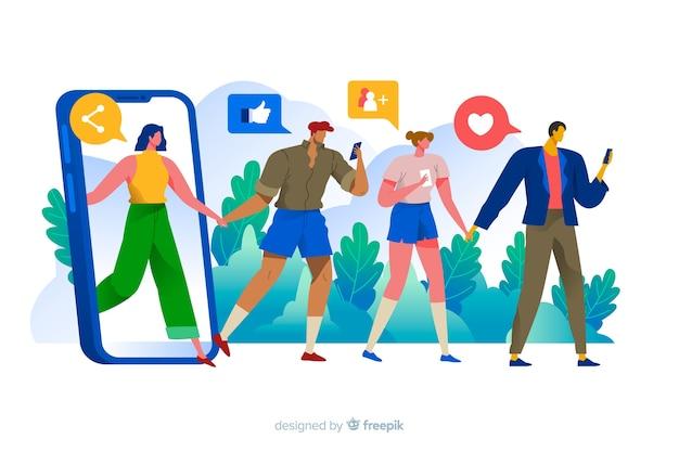 Pessoas olhando para celular com ilustração de conceito de ícones de mídias sociais