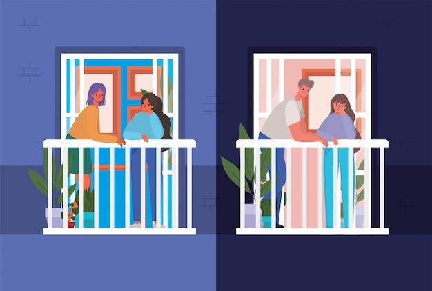 Pessoas olhando pelas janelas com varandas de design de edifício azul