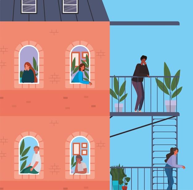Pessoas olhando pelas janelas com varandas do edifício vermelho design