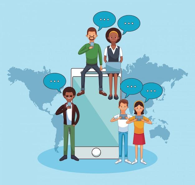 Pessoas on-line ao redor do mundo