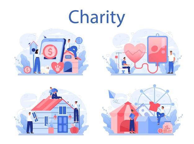 Pessoas ou voluntários doam coisas para ajudar pessoas