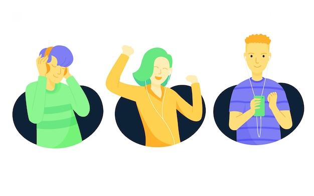 Pessoas ouvindo conjunto de ilustração de música