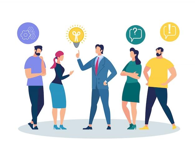Pessoas ouvindo e interagindo com o empresário