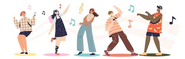 Pessoas ouvindo música em fones de ouvido usando um aplicativo de player móvel ou serviço de streaming online