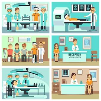 Pessoas, pacientes no hospital, equipe médica no consultório, consulta, tratamentos