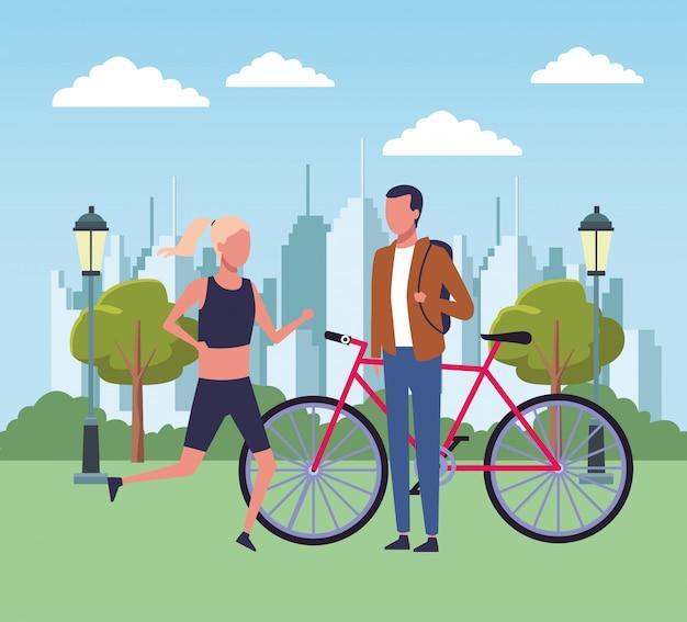 Pessoas, parque, desenhos animados