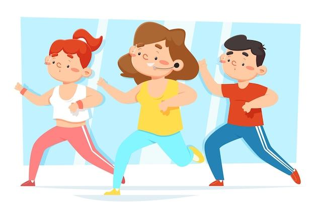 Pessoas participando de uma aula de dança fitness