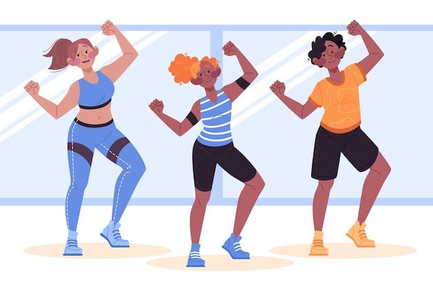 Pessoas participando juntas de uma aula de dança fitness
