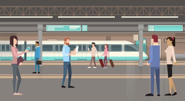 Pessoas passageiros eléctrico metro modern city public transport