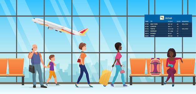 Pessoas passageiros em turistas do interior do terminal do aeroporto de embarque internacional caminhando