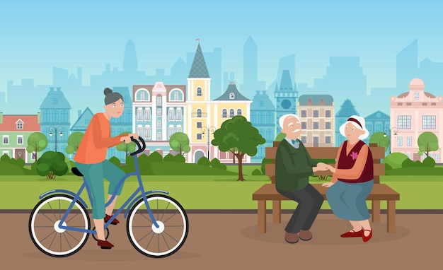 Pessoas passam um tempo na paisagem urbana do parque da cidade com um casal de idosos sentados no banco juntos