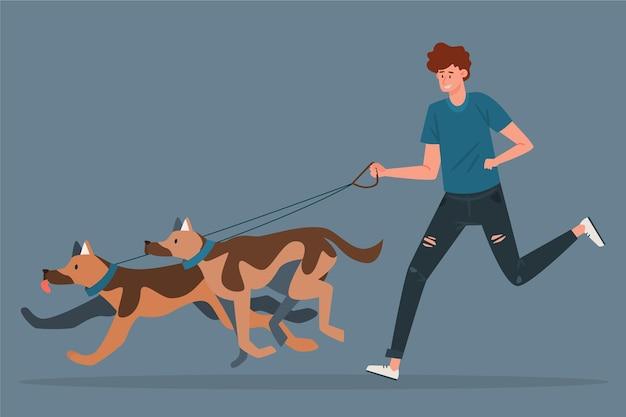 Pessoas passeando com a ilustração de cachorro
