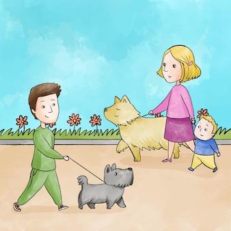 Pessoas passeando com o cachorro ao ar livre