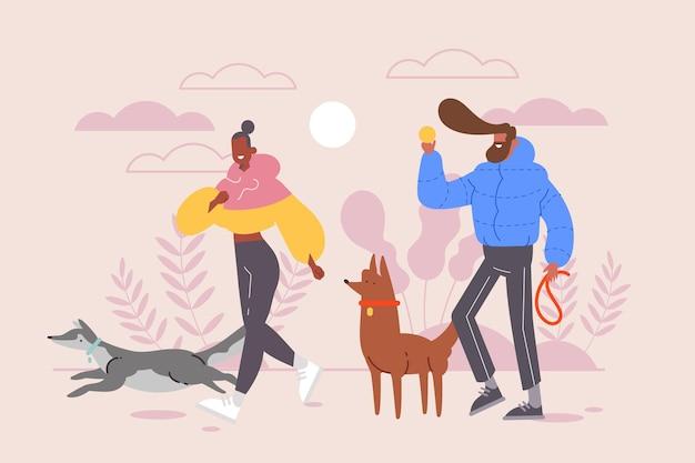 Pessoas passeando com o cachorro design