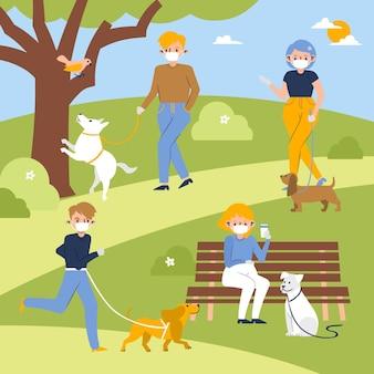 Pessoas passeando com o cachorro no parque