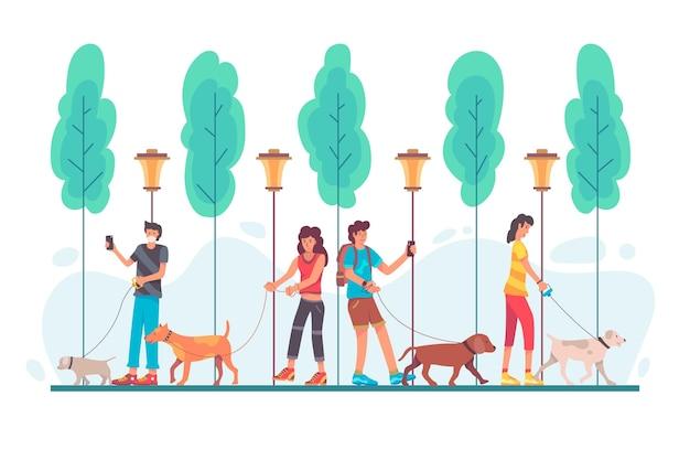 Pessoas passeando com o cachorro
