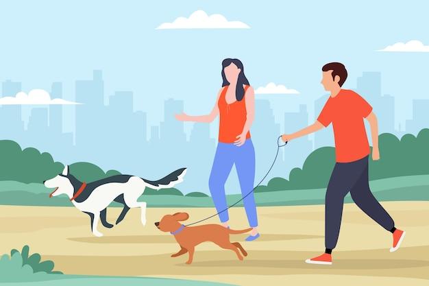 Pessoas passeando com o conceito de cachorro