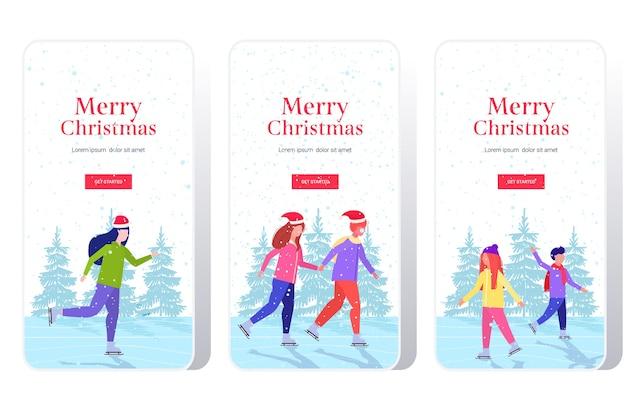 Pessoas patinando na pista de gelo, atividades esportivas de inverno, recreação nos feriados