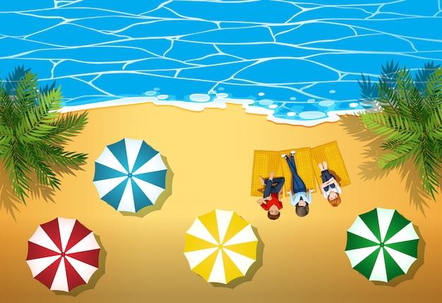 Pessoas, pendurando, praia