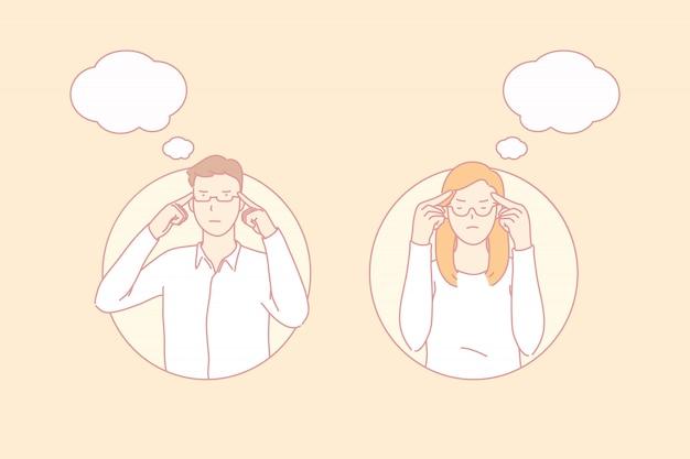 Pessoas pensativas, decisão importante, conceito de trabalhador concentrado