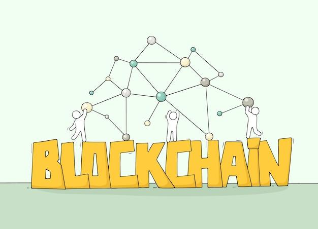 Pessoas pequenas com a palavra blockchain.