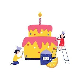 Pessoas pequenas - crianças - cozinhando e decorando um bolo enorme desenho plano