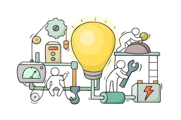 Pessoas pequenas dos desenhos animados com a ideia da lâmpada. mão desenhada cena sobre cooperação criativa. vetor isolado no fundo branco.