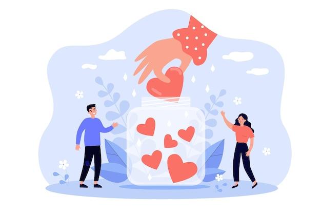 Pessoas pequenas e felizes coletando corações em uma ilustração plana do frasco
