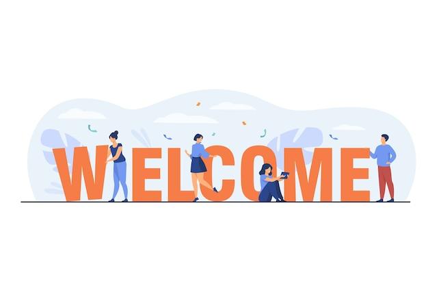 Pessoas pequenas felizes perto de ilustração plana enorme palavra de boas-vindas.