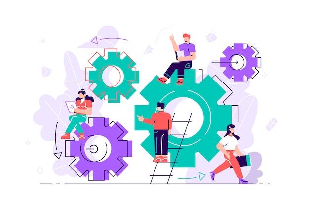Pessoas pequenas links de mecanismo. mecanismo de negócios