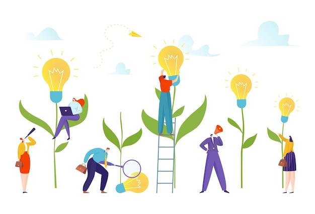 Pessoas pequenas no campo de lâmpadas desenvolvem um novo conceito de ideia