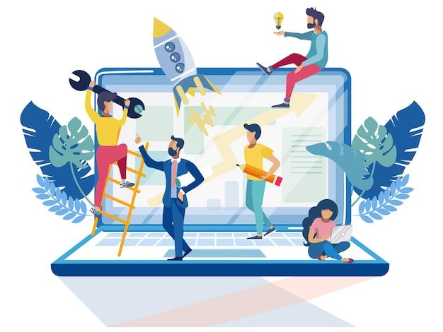 Pessoas pequenas no grande laptop
