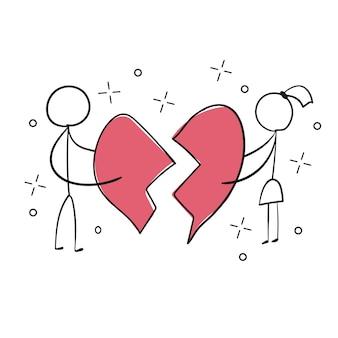 Pessoas pequenas seguram duas peças de quebra-cabeças. design fofo, camiseta, pôster, impressão de cartão, um trocadilho de amor, um amor fofo dizendo, doodle, estilo infantil