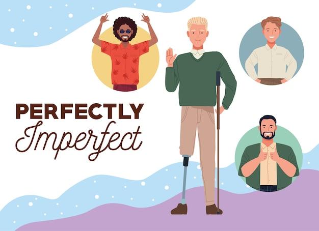 Pessoas perfeitamente imperfeitas agrupam personagens com cores de fundo